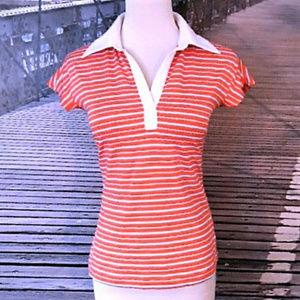 ADIDAS ClimaLite striped coral polo shirt like new